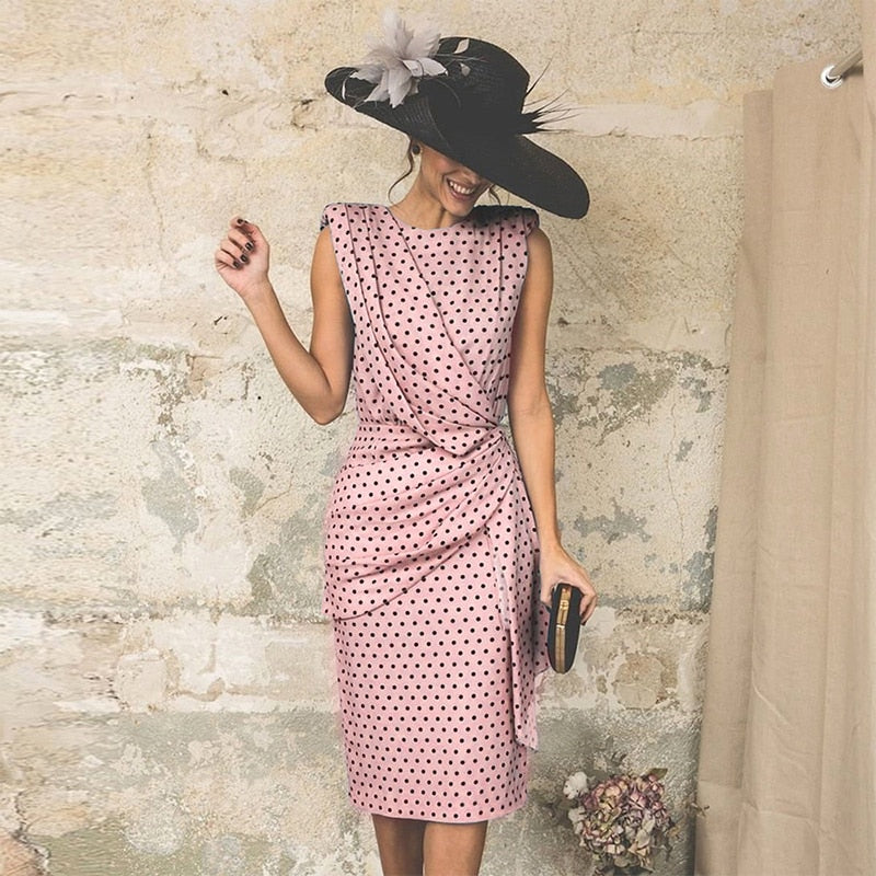 QRWR Summer Vintage Women Dress 2020 Dot Sleeveless Sheath Bodycon Sexy Party Dress Female Knee Length Elegant Midi Dress Women
