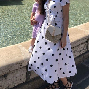 Lossky Summer Dress Women Vintage Dress Casual Polka Dot Print A-Line Party Dresses Sexy V-neck Short Sleeve Long Dress Fashion