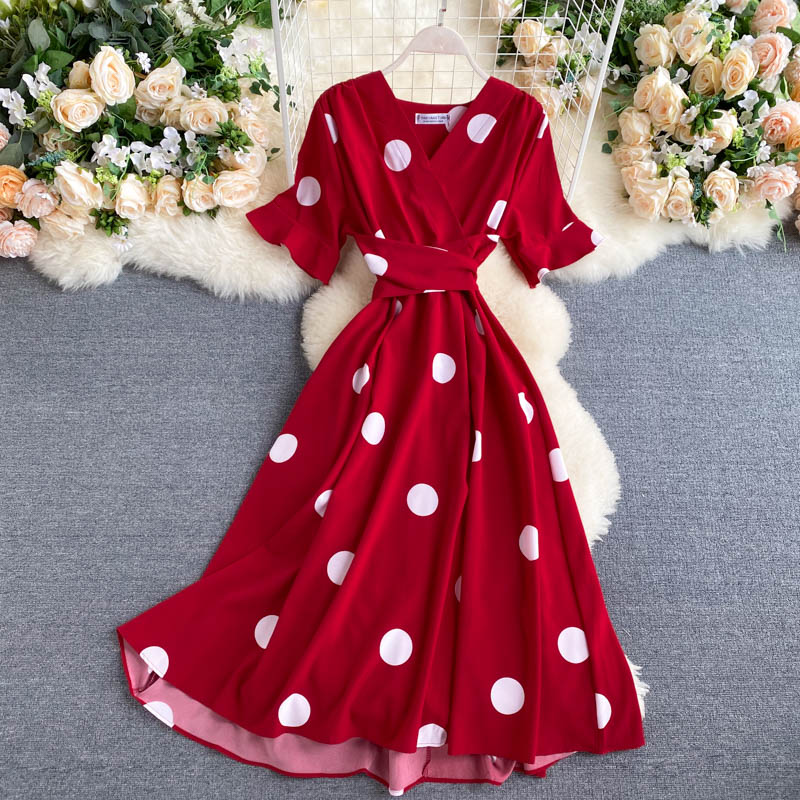 SINGRAIN New Polka Dot Dress Women V neck High Waist Holiday party Long Vestidos Korean Style French Casual Chic Pea Dresses