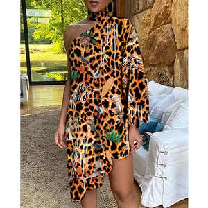 New Fashion Vintage Women Loose Dress Stand neck One Shoulder Figure Print Irregular Ruffle Dress Ladies Vestido
