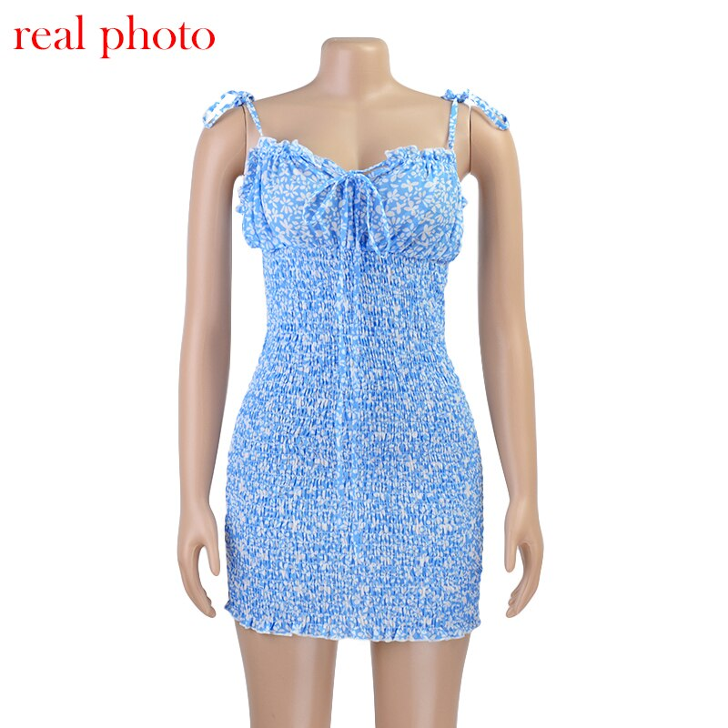 Cryptographic Fashion Floral Print Women Mini Dresses Holiday Sundress Summer Sexy Backless Dress Bohemian High Waist Mini Dress