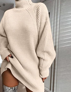 Forefair Oversized Knitted Dress Sweater Autumn 2019 Solid Long Sleeve Casual Elegant Mini Warm Winter Turtleneck Dress Women
