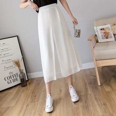 Ice Silk Chiffon Wide-Legged Pants Women Summer Casual Loose Fake Two Piece Pants Skirt 2020 Fashion Beach Pants Female