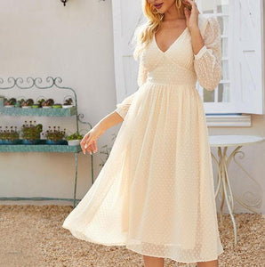 S.FLAVOR Elegant V-neck Chiffon Midi Dress For Women Bohemian Style Slim Winter Party Vestidos De Autumn A-line Dresses 2020
