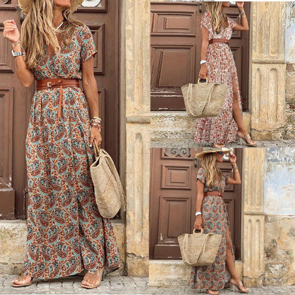 HOT SALE!! Boho Women V Neck Short Sleeve Paisley Print Belt Large Hem Beach Long Dress print dress summer beach dress with belt