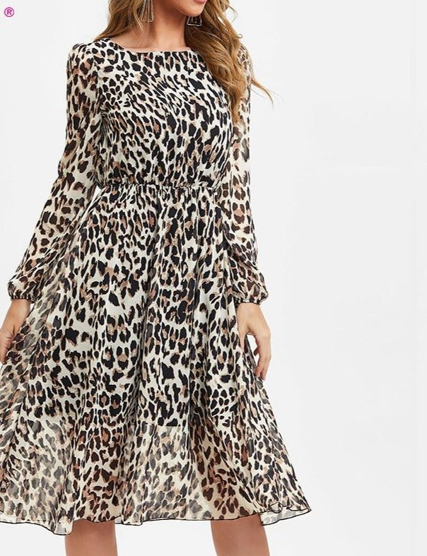 S.FLAVOR Leopard Print O Neck Chiffon Dress For Women 2020 Autumn Long Sleeve Sexy Party Dress Clothes Winter Casual Beach Dress
