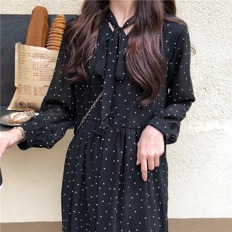 Women Chiffon Dress 2020 Spring Summer New Fashion Female Long Sleeve Vintage Printed Dot Lace Up Loose Casual A-line Dresses