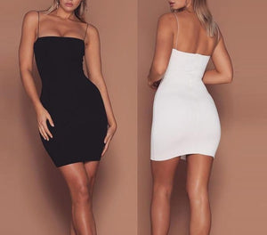 Sexy Robe Femme Straps Slim Sleeveless Halter Stretch Mini Dress 2019 Summer Women Dress White Black Spaghetti Strap Dress