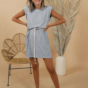 2020 Summer Sleeveless Shoulder Pad Mini Dress O Neck Casual Loose Pocket Solid Striped White Black Basic Dress Women Dresses