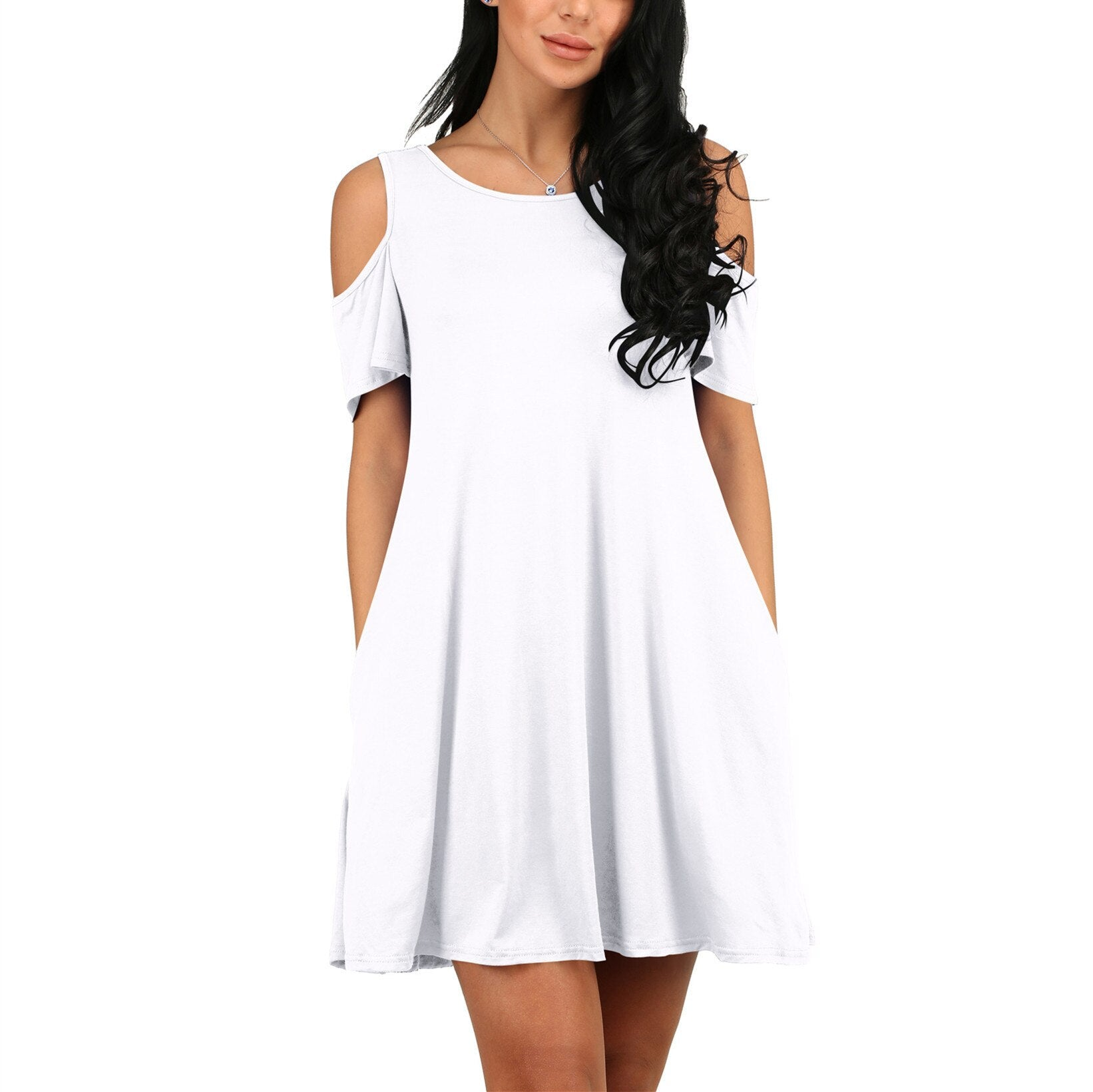 ONCE Women Summer Dress 2020 Solid Beach Dresses Female Off Shoulder Long Vestidos Beach Sexy Sundress Casual Dress