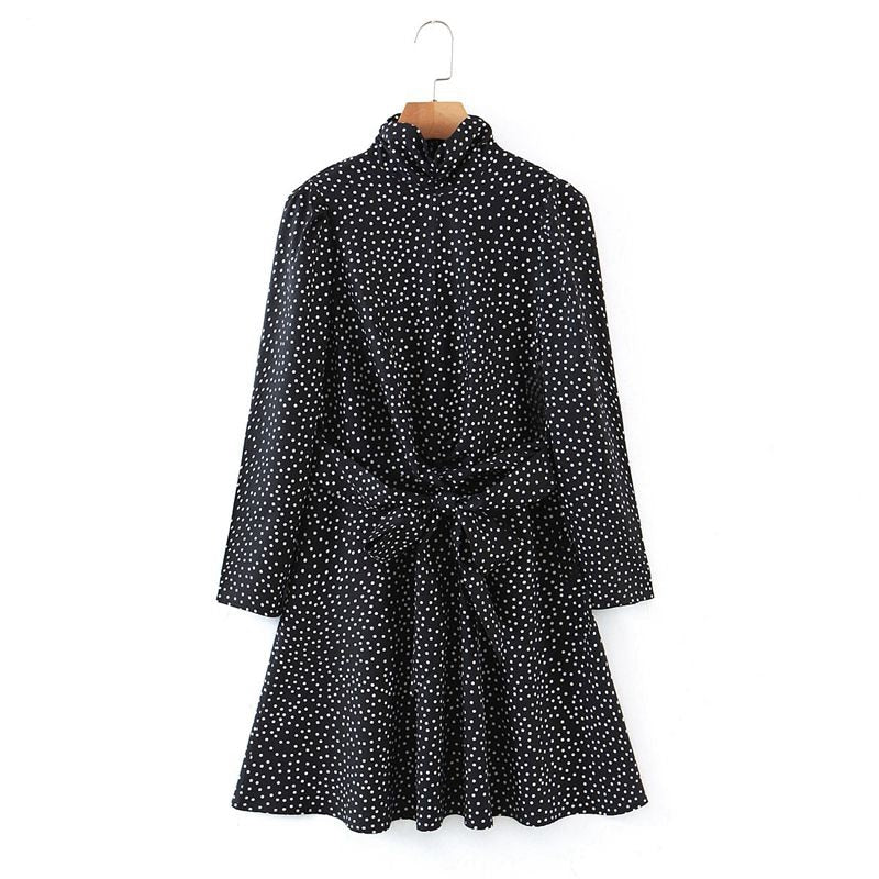 Tangada Fashion Women Dots Print Stand Collar Dress 2020 New Arrival Long Sleeve Ladies Dresses With Slash SL600
