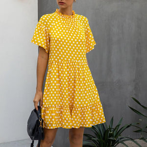 Black Dress Polka-dot Women Summer Sundresses Casual White Loose Fit Clothes Free People 2020 Yellow Womens Clothing Everyday