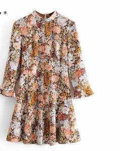 Zevity Autumn Women Vintage Stand Collar Flower Print A Line Mini Dress Office Ladies Ruffles Sleeve Casual Chic Vestido DS4542