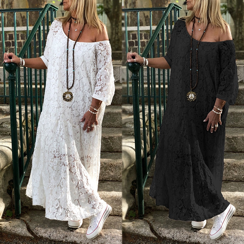 Women Lace Crochet Maxi Long Dress ZANZEA Summer 3/4 Sleeve Party Vestido Robe Femme Bohemian Sundress Casual Loose Autumn Dress