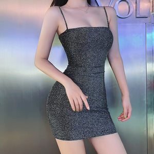Hot Womens Summer Solid Color Sexy Nightclub Sheath Mini Dresses Evening Halter Strap Sleeveless Club Wear Tight Bodycon Dress