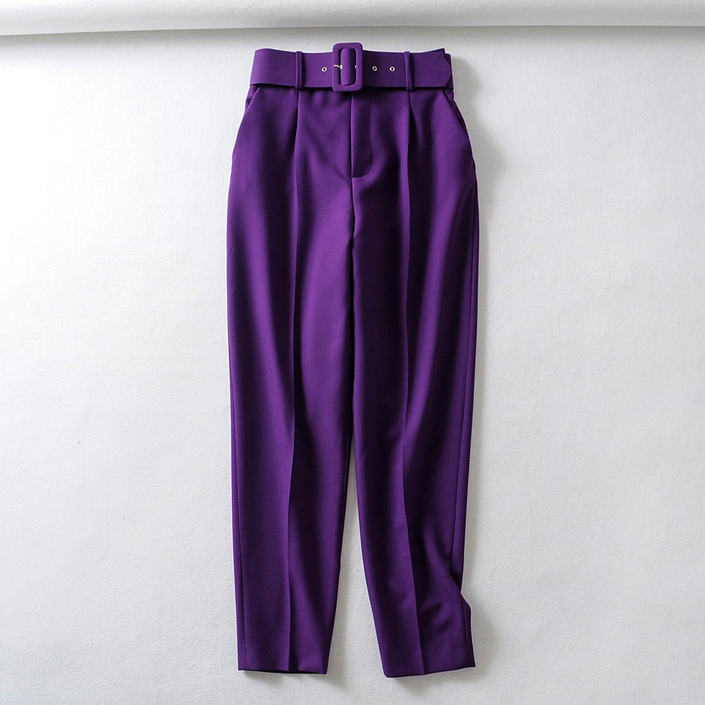 New Womens yellow Suit Pant Trousers with belt high waist solid office lady Pants Female zora purple Pants Streetwear pink Pants