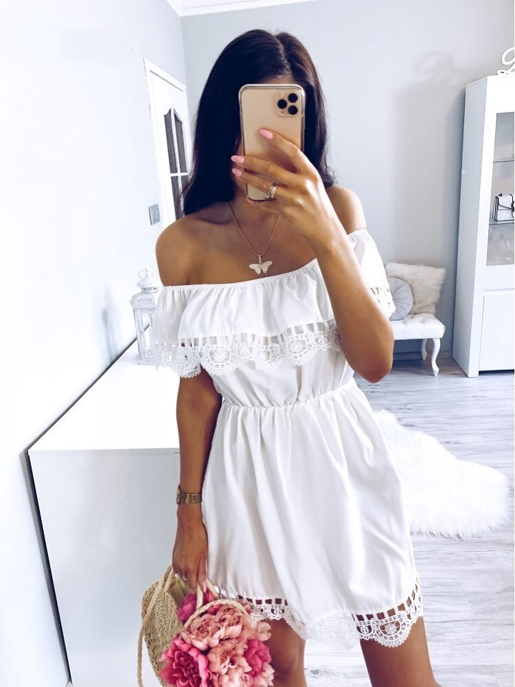 Fashion Women Elegant Vintage sweet lace white Dress Stylish Sexy Slash Neck Casual Slim Beach Summer Sundress Female vestidos