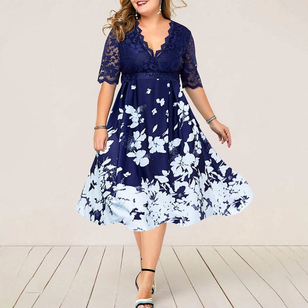 Plus Size Women Summer Dress Patchwork Flower Large Size Evening Party Lady Midi Dress Sexy Lace Calf Elegant Female Dress D25