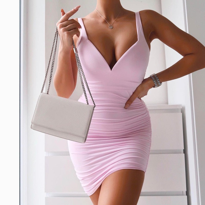 SRUBY Pink women dress With Pad Double Layer Ruched Spaghetti straps Sexy Dress Sleeveless Summer Bodycon Dress vestido de mujer