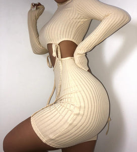 KGFIGU Women knit dress 2019 Autumn long sleeve Khaki slimming bodycon Fitness Sexy ribbed vestidos drop shipping