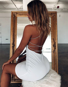 Women Sexy Bodycon Party Dresses Backless Spaghetti Straps Clubwear Mini Dress low neck drop shipping
