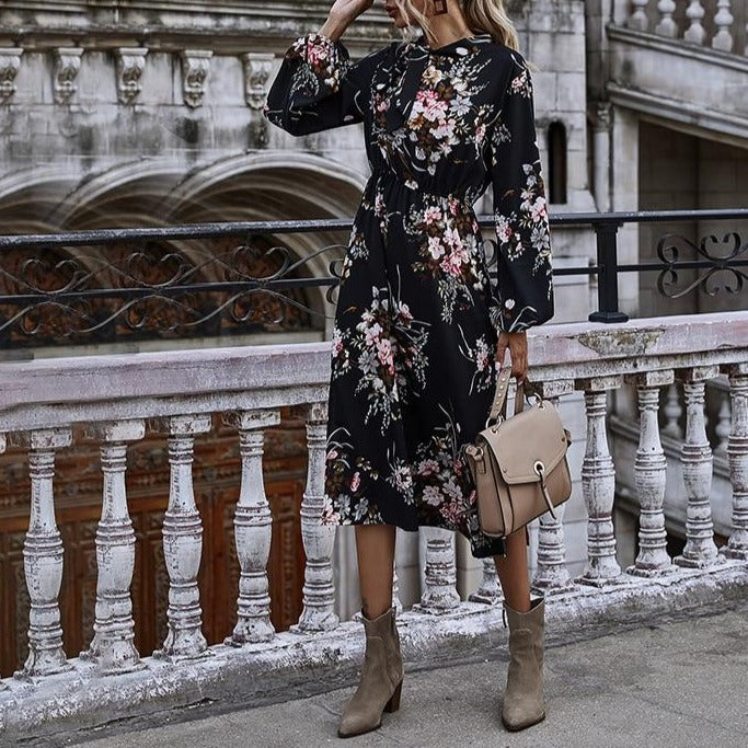 Puff Sleeve Autumn Winter Floral Dress Women Casual Bow Stand Collar High Wasit Long Sleeve Dress 2020 New