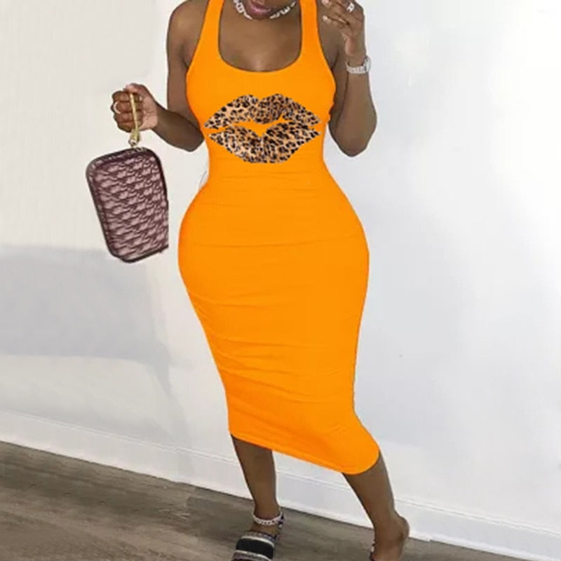 New Summer Fashion Leopard Lips Sleeveless S-5XL Plus Size Dress Sexy Casual Basic Midi Dress Club Bodycon Tight Dresses Women