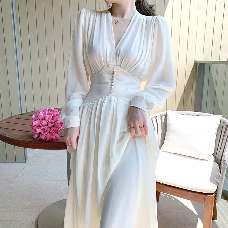 Elegant Dress Women Solid Long Sleeve Fairy Party Dress Office Lady Sexy V-neck Loose Midi Dress 2020 Autumn Clothing Female