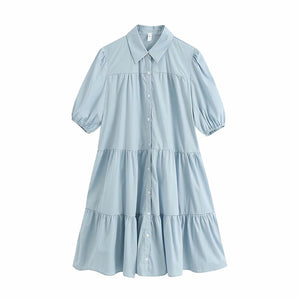 KPYTOMOA Women 2020 Sweet Fashion Ruffled White Mini Dress Vintage Lapel Collar Puff Sleeve Female Dresses Chic Vestidos Mujer
