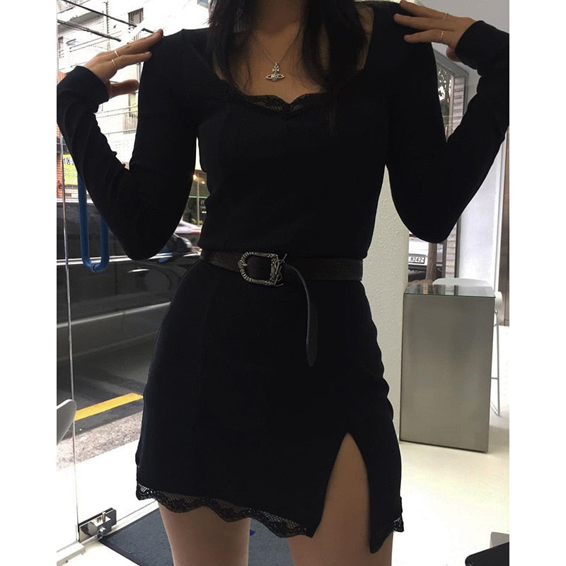 Women Winter Dress Women 2020 New Arrivals Sexy Long Sleeve Lace Split Black White Solid Party Dresses Vestidos