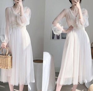 2020 Spring Plus Size Dress Elegant Button A-Line Vestidos Solid Puff Sleeve Empire V-Neck Lace Voile Mesh Dress Women 8126 50