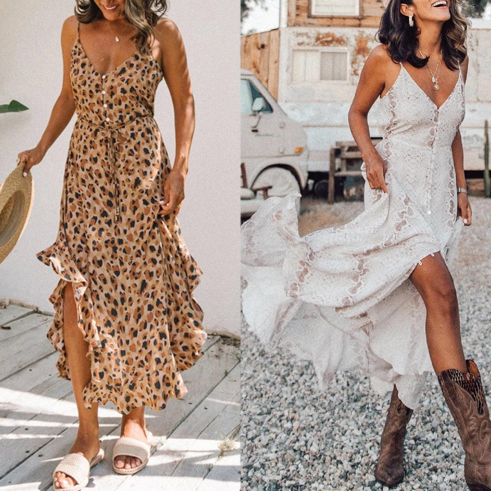Summer Dress Women Casual Long Dress 2020 Loose Chiffon Dresses Lady Beach Ruffles Dress V Neck Boho Dress Sexy Party Maxi Dress