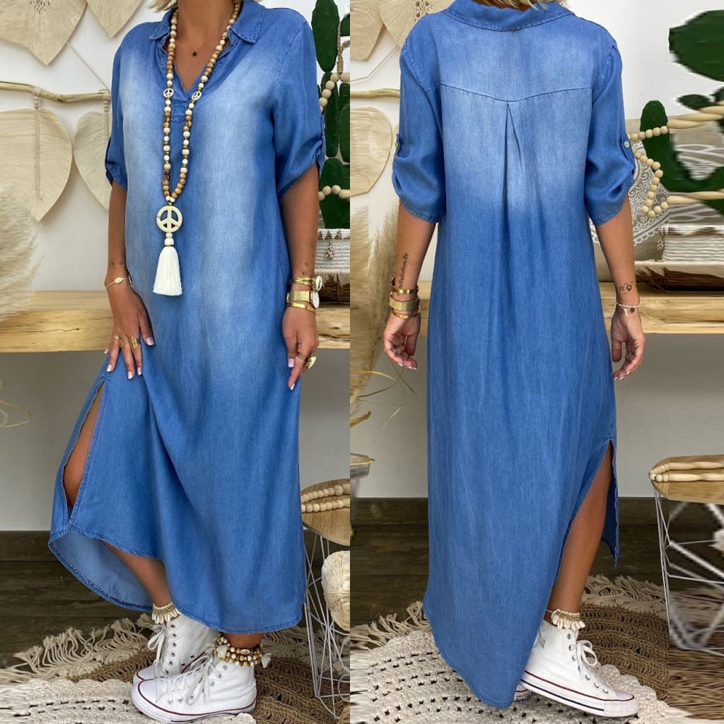 Women summer denim dressLmitation Cowboy Short Sleeve long dress Fashion V-Neck Ankle Length Dress robe longue femme #s