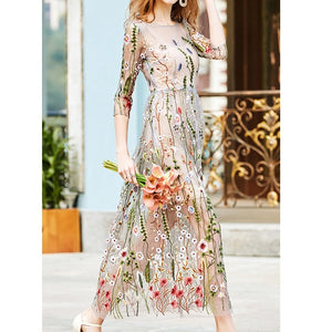 Embroidery Party Dresses Runway Floral Bohemian Flower Embroidered 2 Pieces Vintage Boho Mesh Dresses For Women Vestido