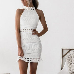 Lossky Sexy Lace Stitching Hollow Out Dress Elegant Women Sleeveless White Summer Chic Short Club Party Clothes Dresses 2020