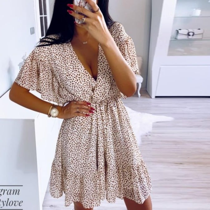 DICLOUD Dot Women Summer Dresses And Sundresses Sexy Plunge V Neck Beach Party Mini Dress Back Button Closure Ruffle Clothes