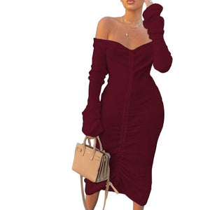 Front Drawstring Sexy Bandage Dresses Women White Slash Neck Long Sleeve Club Party Dress Autumn Winter Off Shoulder Maxi Dress