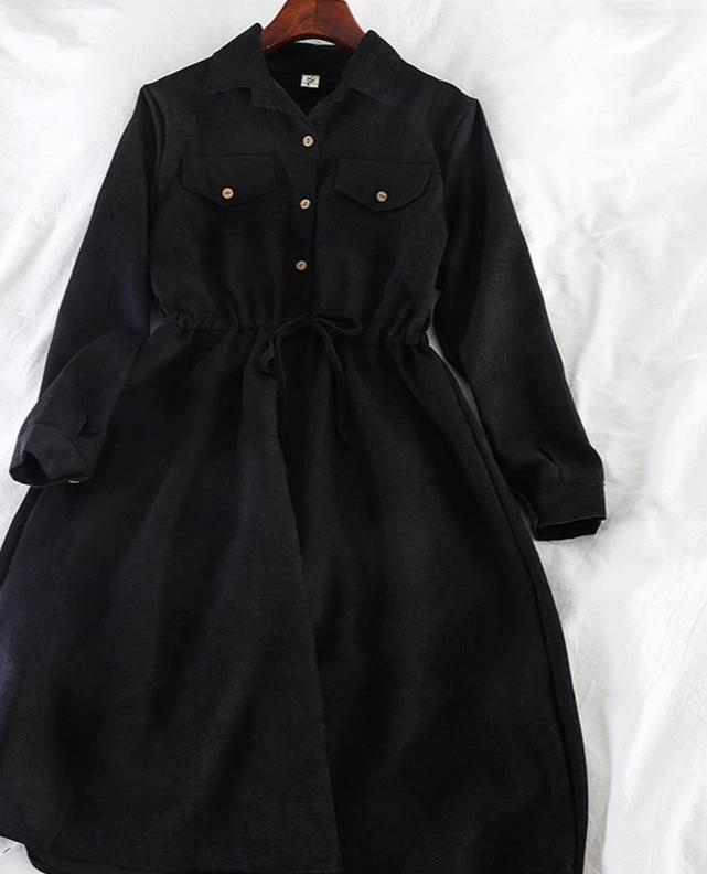 YuooMuoo Vintage Pockets Design Women Shirt Dress 2020 Autumn Winter Drawstring A Line Midi Dress Elegant Ladies Office Dresses