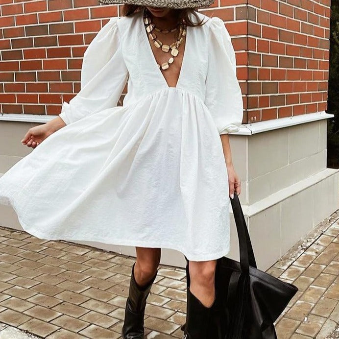 OOTN Deey V Neck Sexy Black Dress Women Puff Sleeve A Line Ladies Dress High Waist Casual Elegant Autumn Winter White Dresses
