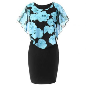 Plus Size Womens Dress Elegant Office Lady Rose Flower Print Cape Bodycon Knee Length Dress