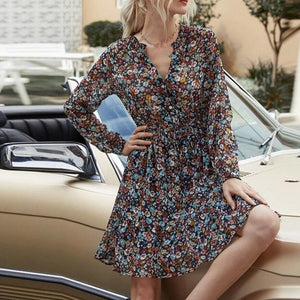 Aachoae Summer Boho Floral Print Dress Women Lantern Long Sleeve Pleated Dresses V Neck Beach Mini Dress Female Roupa Feminina