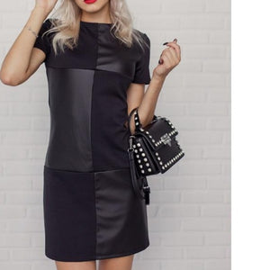 Women Vintage Leather Patchwork Elegant Office Dress Long Sleeve O neck Solid Casual Mini Dress 2020 Autumn New Fashion Dress