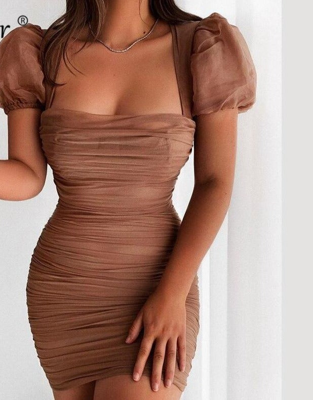 Forefair Puff Sleeve Mesh Vintage Mini Bodycon Sexy Dress Summer Square Neck Fashion 2020 Khaki Party Dress Women