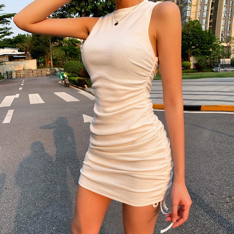 WannaThis Sleeveless Short Dresses Women Drawstring O-Neck Slim Elastic Ruched Off Shoulder Mini Casual Summer Party Dress Solid