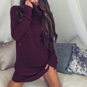 Hot Thin Knitted Pullover Loose Mini Dress Spring Autumn Women Thin Sweatshirt Turtleneck Long Sleeve Jumper Dress
