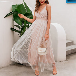 Affogatoo Sexy v neck backless summer pink dress women Elegant lace evening maxi dresses female Holiday long party dress ladies