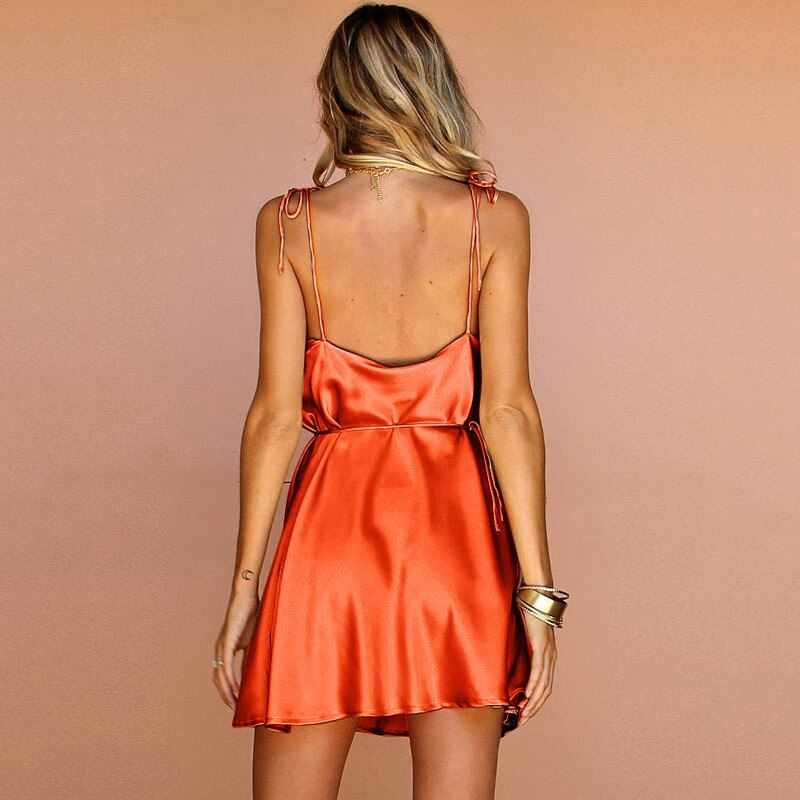 2020 Strap Summer Dress Women Backless Satin Silk Bandage Mini Dresses Women Party Night V Neck Sleeveless Dress Summer Girl