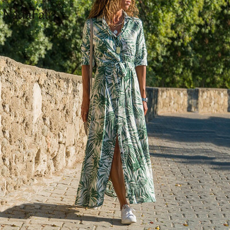 Nadafair Summer Maxi Dresses Women Beach Sash Buttons Chiffon Floral A-Line Tunic Shirt Long Vacation Boho Dress Woman