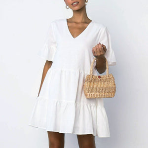 2019 Summer Beachwear Deep V Necek Short Sleeve White Ruffled A-line Mini Dress Women Dress Sexy Dress