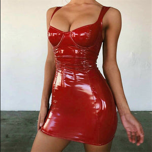2019 Sexy Backless Club Party Short Dress Solid Black Wet Look Latex Bodycon Faux Leather Push Up Bra Mini Micro Dress Leotard